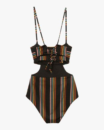 6 Side Line Striped One Piece Swimsuit Black X107QRSO RVCA