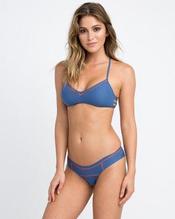 1 July Ribbed Cheeky Bikini Bottom Blue XB14PRJC RVCA