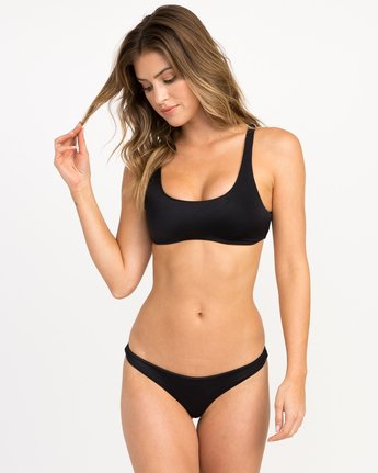 2 Solid Basic Isle Skimpy Bikini Bottom Black XB27NRIS RVCA