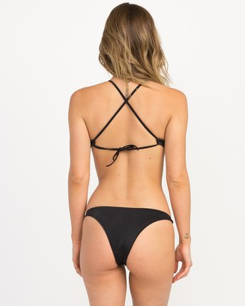 2 Solid Shimmer Crossback Bikini Top Black XT20QRSC RVCA