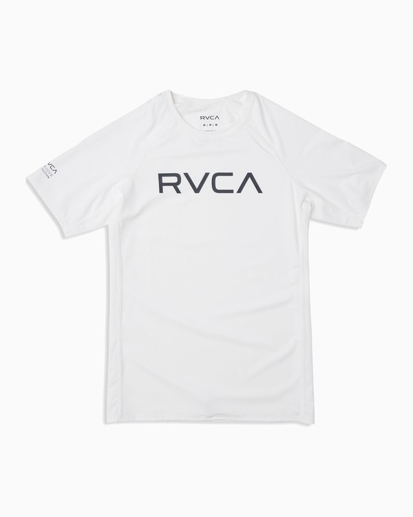 0 Boy's RVCA Short Sleeve Rashguard White BR10TRSR RVCA