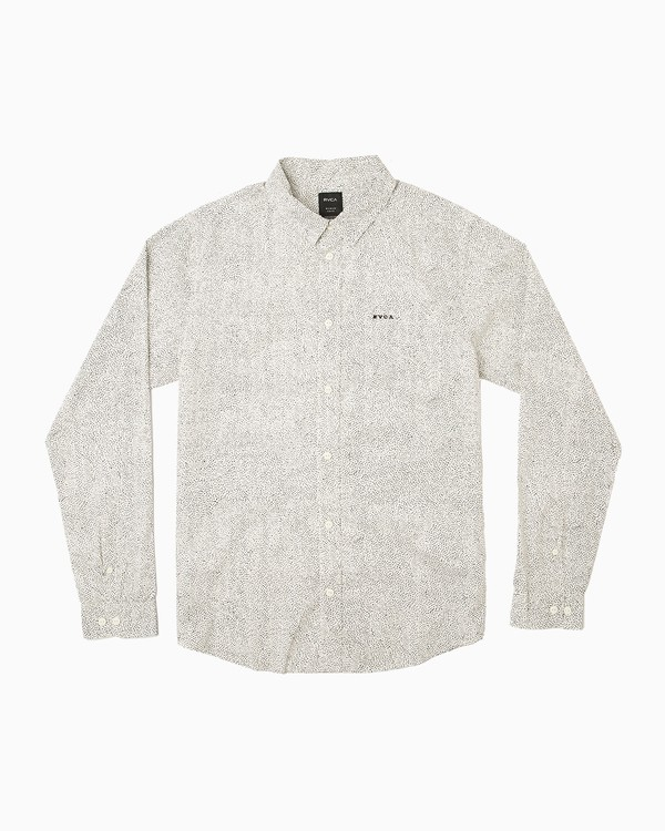 0 Benj Long Sleeve Button-Up Shirt White M567QRBE RVCA