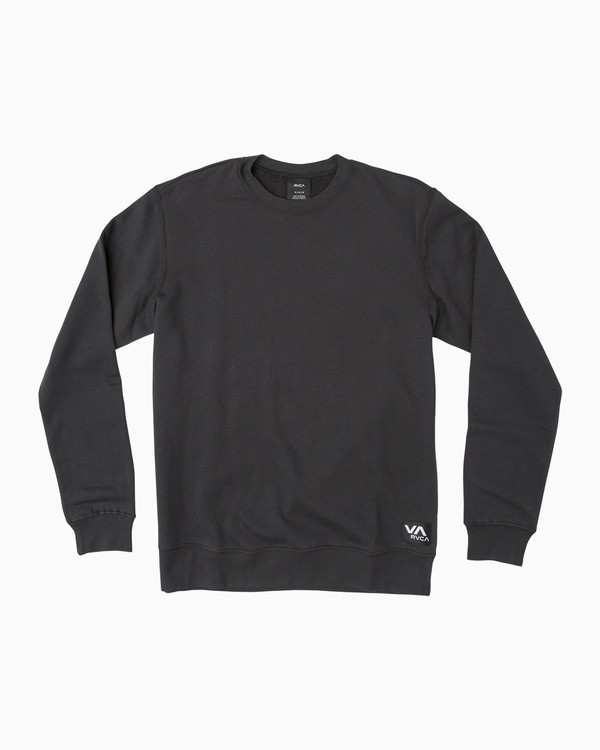 0 Label Crew Fleece Sweatshirt Black M608QRLE RVCA
