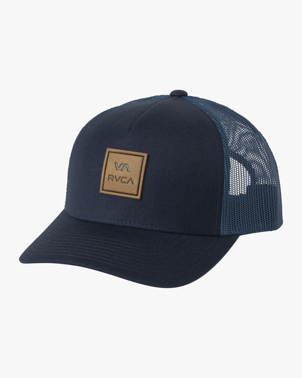 0 VA All The Way Curved Brim Trucker Hat Blue MAHWPRVA RVCA