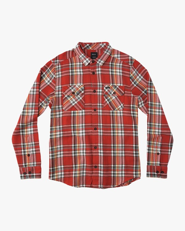 0 Camino Long Sleeve Flannel Shirt Green ML502CAM RVCA