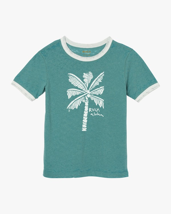 0 Oblow Palm Ringer T-Shirt Pink W440SROS RVCA
