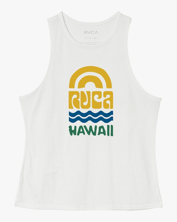 0 Rivey Hawaii Tank Top White W498SRRS RVCA