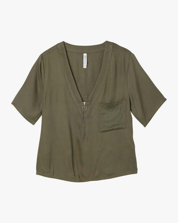 0 Cluless V-Neck Top Green W505NRCL RVCA