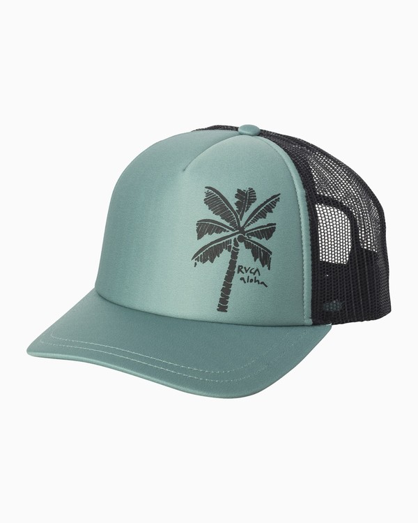 0 Oblow Palm Trucker Hat Blue WAHWQROP RVCA